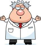 Confused Cartoon Mad Scientist Stock Photo