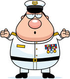 Confused Cartoon Navy Admiral Royalty Free Stock Photo