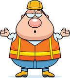 Confused Cartoon Road Worker. A cartoon illustration of a road worker looking confused Royalty Free Stock Images