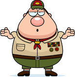 Confused Cartoon Scoutmaster Royalty Free Stock Image
