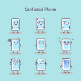 Confused cartoon smart phone Royalty Free Stock Photography