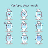 Confused cartoon smart watch. Set, great for your design Stock Photography
