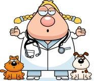Confused Cartoon Veterinarian Stock Image