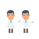 Confused  Character Doctor in ignorance and does not know what t Stock Photography