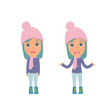 Confused  Character Winter Girl in ignorance and does not know what to do Royalty Free Stock Photos