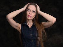 Confused or concern woman Royalty Free Stock Photos
