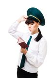 Confused customs worker woman Royalty Free Stock Image