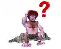 Confused 3d caveman character with a question mark over his head Royalty Free Stock Photo