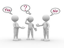 Confused. 3d people - men, person with speech bubbles and text yes and no. Confused stock illustration