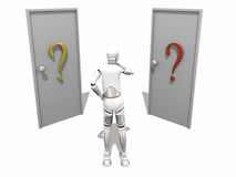 Confused dummy. Crash Test Dummie doubt in front of tow doors over a white background Stock Images