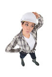 Confused female manual worker Stock Images