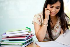 Confused female student Stock Photo
