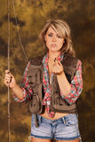 Confused Fisherwoman Pinup. Fly Fisherwoman confused with hook in her hand Stock Photos