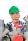 Confused funny plumber Royalty Free Stock Photo