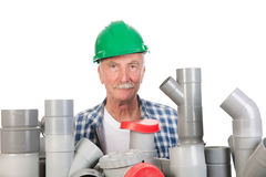 Confused funny plumber Stock Image