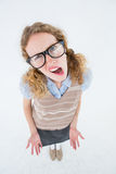 Confused geeky hipster woman Royalty Free Stock Photo