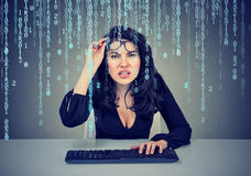 Confused girl with glasses coding on the computer. Confused girl coding on the computer Royalty Free Stock Photo