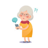 Confused Grandma Using Smart Phone Royalty Free Stock Images