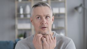Confused Gray Hair Man Feeling Scared and Afriad stock video footage