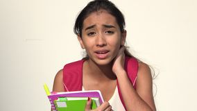 Confused Hispanic Female Teen Student Talking. A young female hispanic teen stock video footage