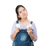 Confused housewife Royalty Free Stock Photo