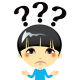 Confused Kid. Portrait of confused kid with doubt expression gesture stock illustration