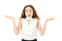 confused kvinna för affär Arkivfoto