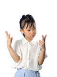 Confused little asian child do not know answer of math Royalty Free Stock Photography