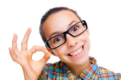 Confused little nerd Royalty Free Stock Photos