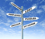 Confused lost puzzled signpost. Confused and lost signpost with sky background Royalty Free Stock Images