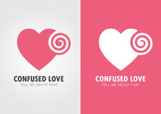Confused Love. Heart and twirl. Stock Image