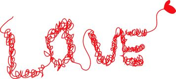 CONFUSED LOVE. RED THREAD TANGLES WHICH FORM THE WORD LOVE, DEPICTING LOVE ARE CONFUSING AND HARD TO UNDERSTAND Stock Images