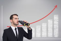 Confused man with binoculars against white background with infographics. Digital composite of Confused man with binoculars against white background with Stock Images