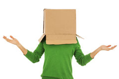 Confused man with cardboard box on his head - Stock Image Stock Photos