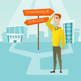 Confused man choosing career pathway. Man making a decision of career. Vector flat design illustration isolated on white background Royalty Free Stock Image