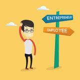 Confused man choosing career pathway. Stock Images