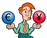 Confused Man. A man confusing with two currency, Euro or Yen Royalty Free Stock Photography