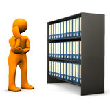 Confused man with files. 3d illustration of confused businessman stood next to large cabinet of business files, white background Royalty Free Stock Photos