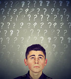 Confused man has many questions no answer Stock Photography