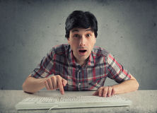 Confused man with keyboard Royalty Free Stock Photo