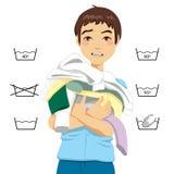 Confused Man Laundry royalty free illustration