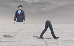 Body splitting in a half. Confused man looking at his legs walking away.  Body splitting in a half . This is a 3d render illustration Stock Images
