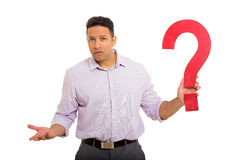 Confused man question mark Stock Image