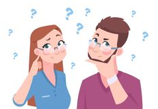 Confused man and woman. Young couple thinking a question, flat man and female, cartoon characters in doubt. Vector