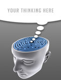 Confused Mind. The labyrinth inside the head. Concept of problem, fear, lost, solution, idea, etc Stock Photo