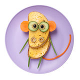 Confused monkey made of bread and vegetables Royalty Free Stock Images