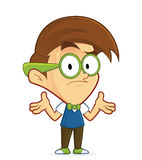 Confused nerd geek. Clipart picture of a confused nerd geek cartoon character vector illustration