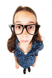 Confused nerd girl. Isolated on white background Royalty Free Stock Photos