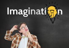 Confused nud man looking at imagination text with electric bulb Royalty Free Stock Photo