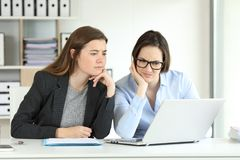 Confused office workers consulting online information. Two confused office workers consulting online information in a laptop Royalty Free Stock Photography